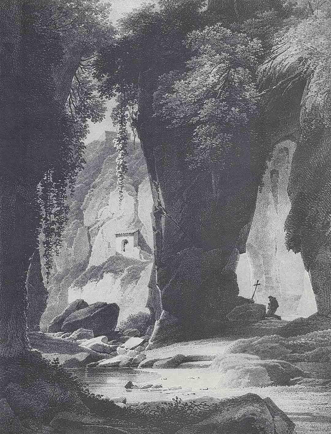 Achille-Etna MICHALLON (Paris 1796 – Paris 1822) – Alexandre-François CAMINADE (Paris 1789 – Versailles 1862), Grottes de Sorrento, ca. 1820