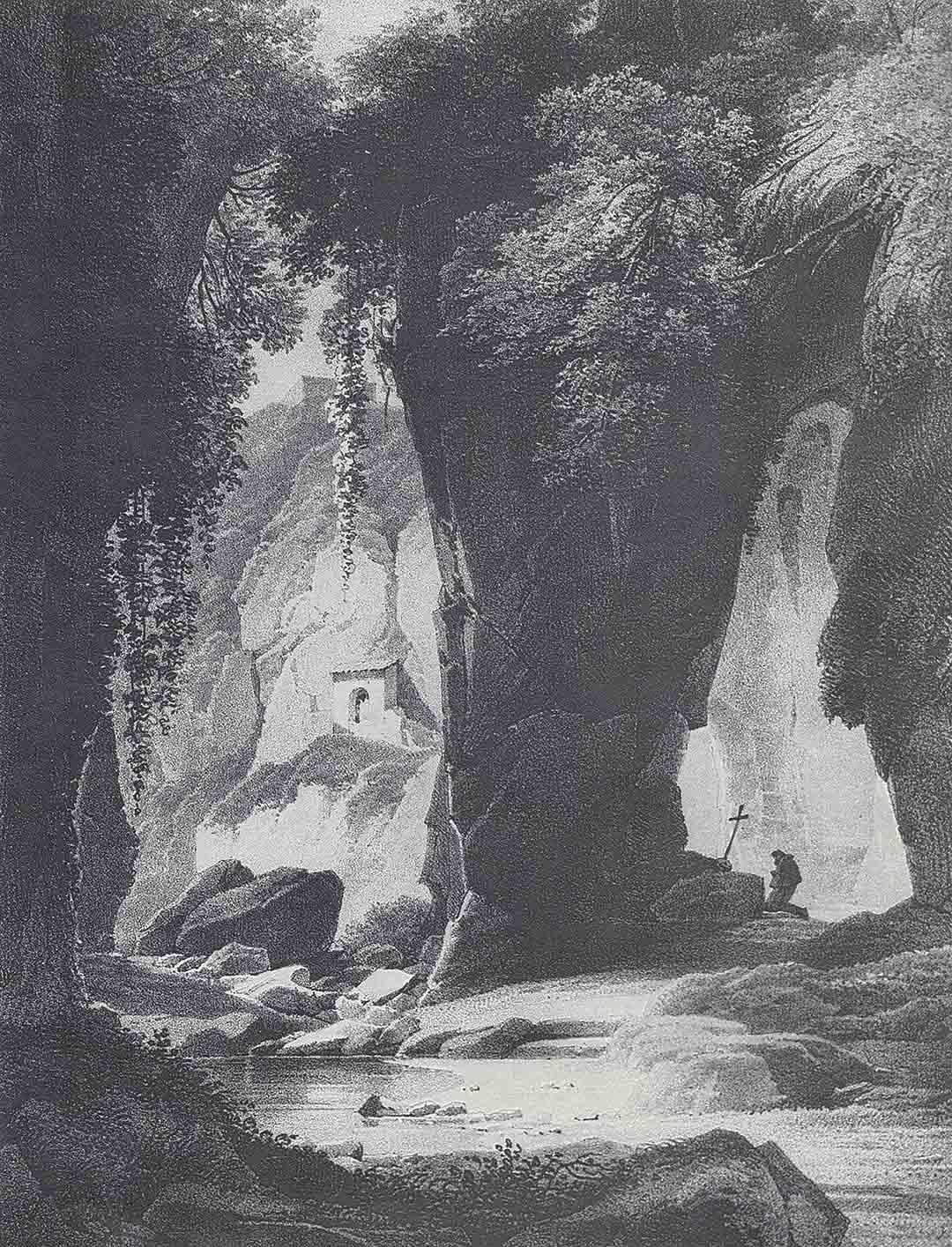 Achille-Etna MICHALLON (Parigi 1796 – Parigi 1822) – Alexandre-François CAMINADE (Parigi 1789 – Versailles 1862), Grottes de Sorrento, 1820 circa
