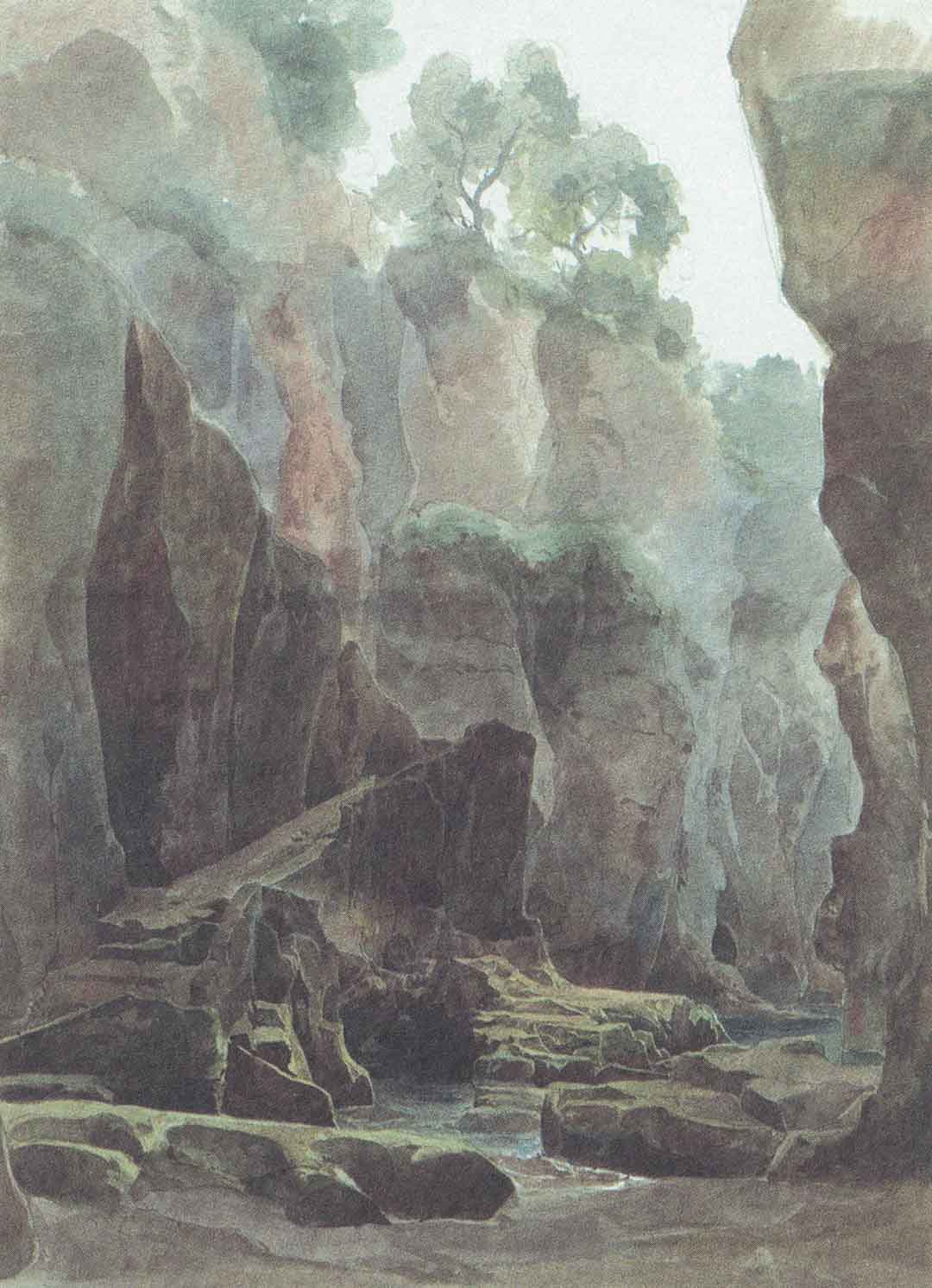 Ernest FRIES (Heidelberg 1801 – Karlsruhe 1833), Rocce nel vallone a Sorrento, 1826