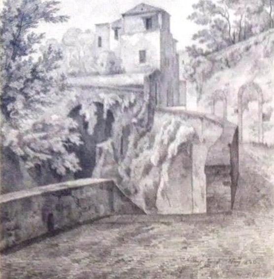 Lancelot-Théodore TURPIN DE CRISSÉ (Paris 1782-Paris 1859)- Pierre Eugène AUBERT (Paris 1789 – Paris 1847), Ravin de Sorrento