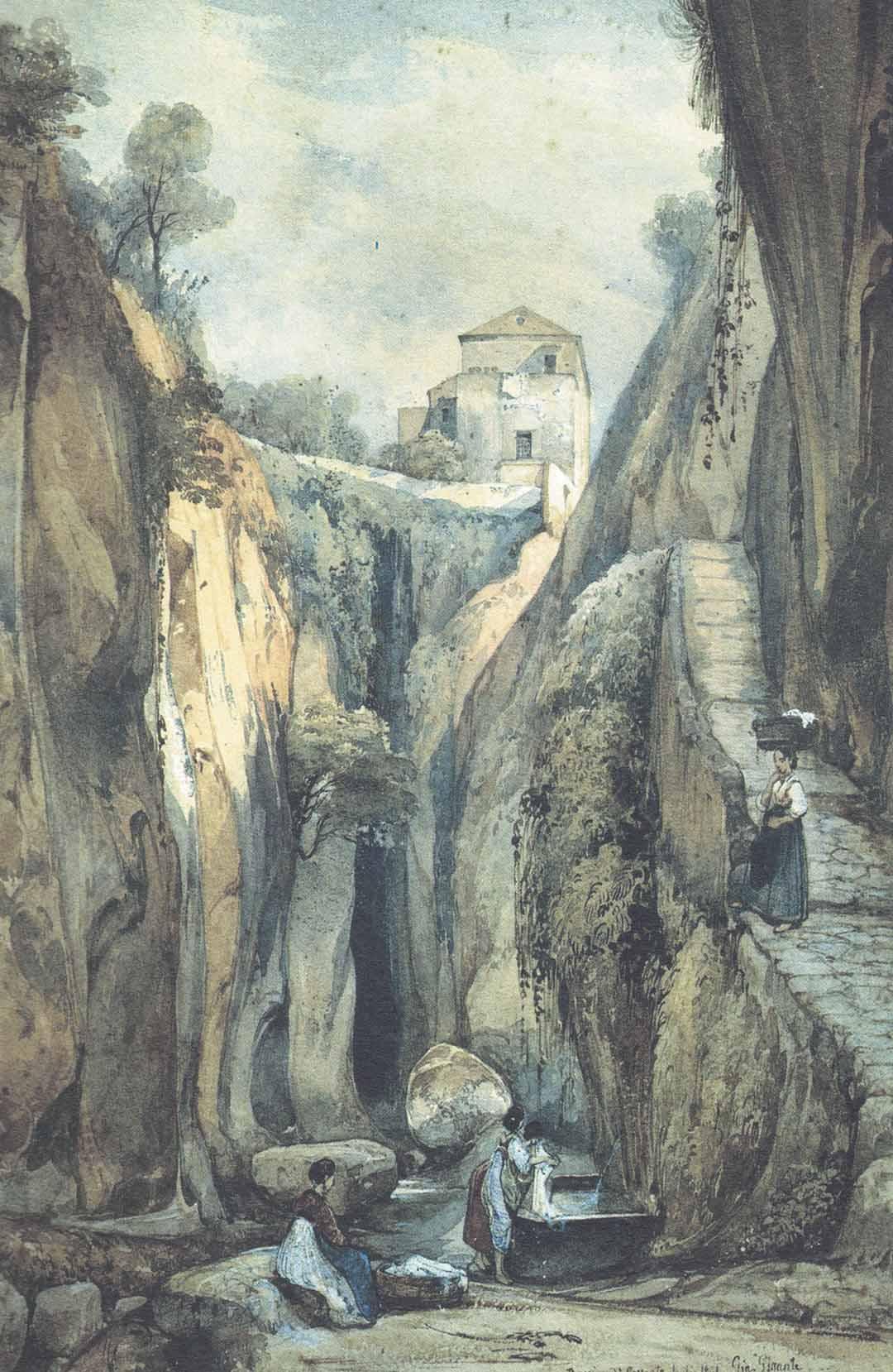 Giacinto GIGANTE (Napoli 1806 – Napoli 1876), Ravine di Sorrento, July 1841