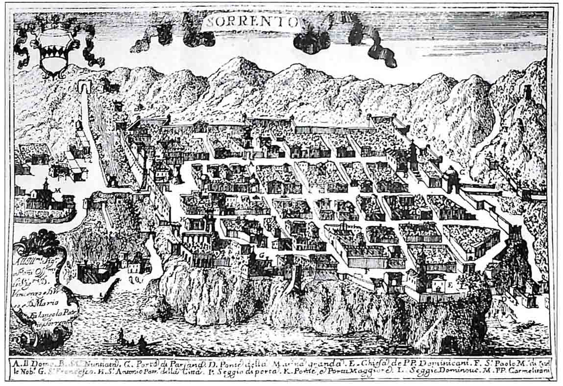 The urban layout of Sorrento in the famous representation of Pacichelli of 1703