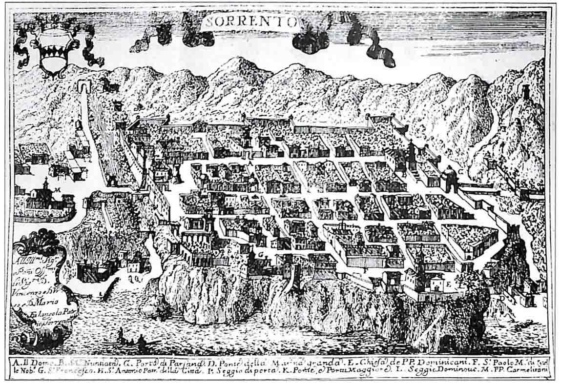 Il disegno urbano di Sorrento nella celebre rappresentazione di Pacichelli del 1703