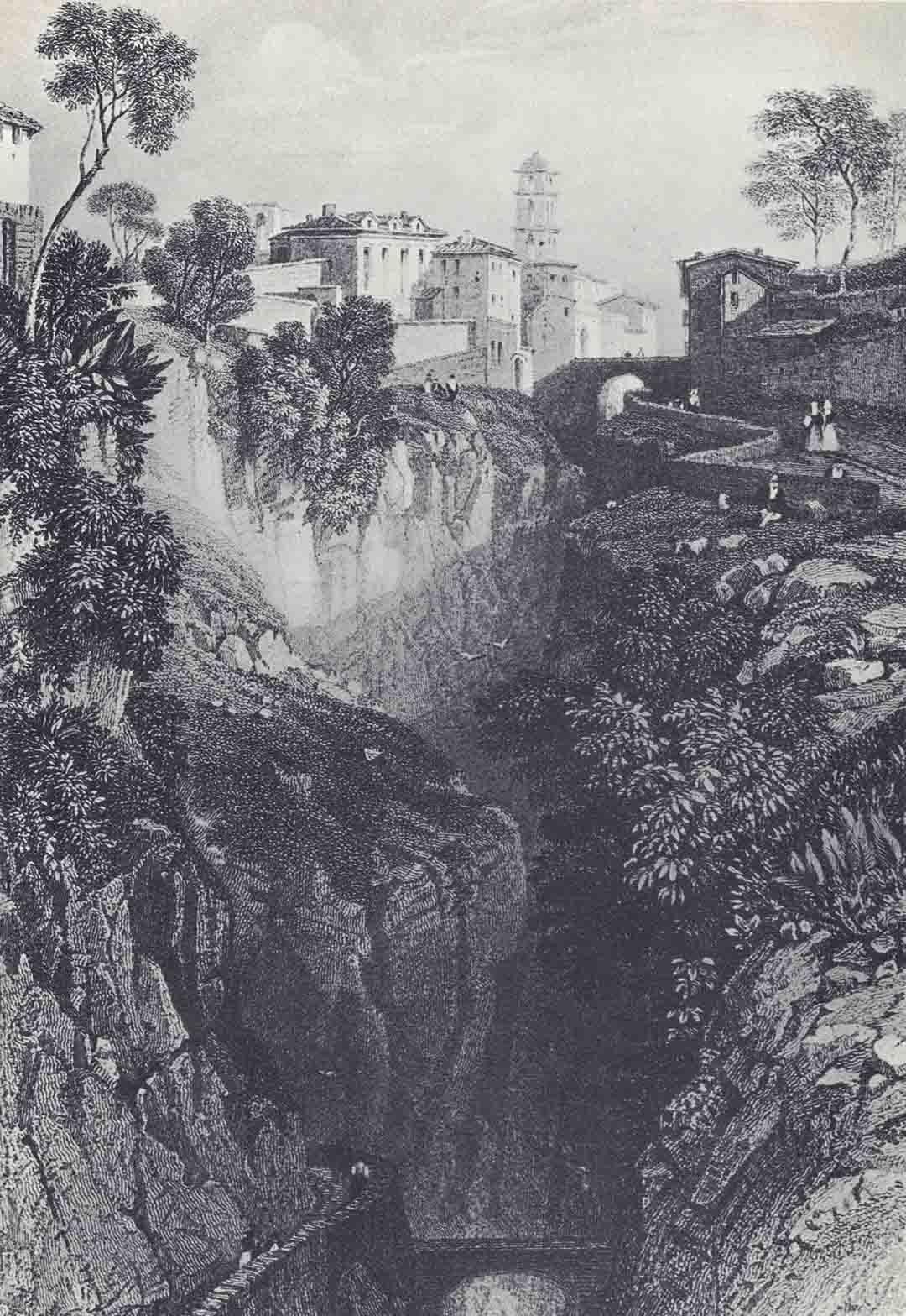 Jules Louis Philippe COIGNET (Parigi 1798 – Parigi 1860) -  ? VILLENEUVE, Vue des Ravins de Sorente, in Vue pittoresque d'Italie, dessinées d'après nature