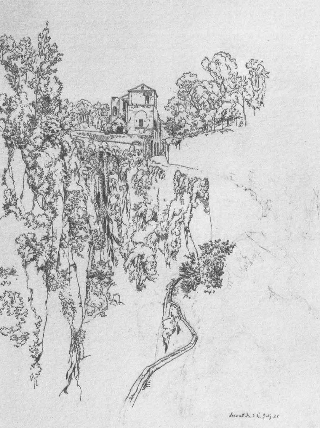 Johann Heinrich SCHILBACH (Barchfeld 1798 – Darmstadt 1851), Un vallone a Sorrento