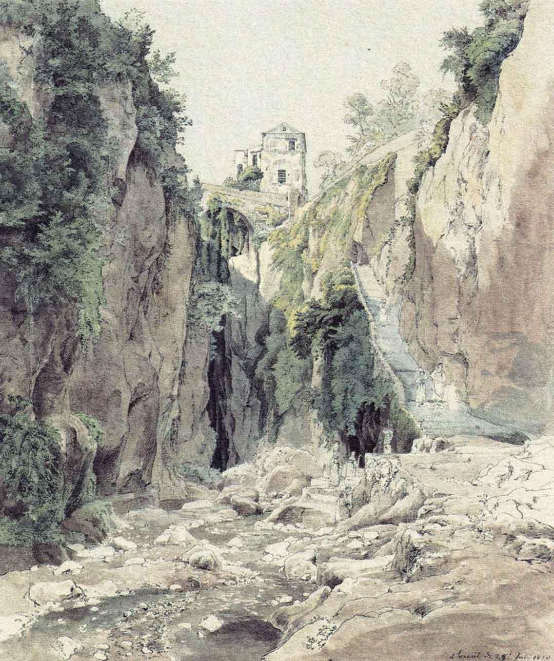 Johann Heinrich SCHILBACH (Barchfeld 1798 – Darmstadt 1851), Una ripida gradinata a Sorrento, 1825