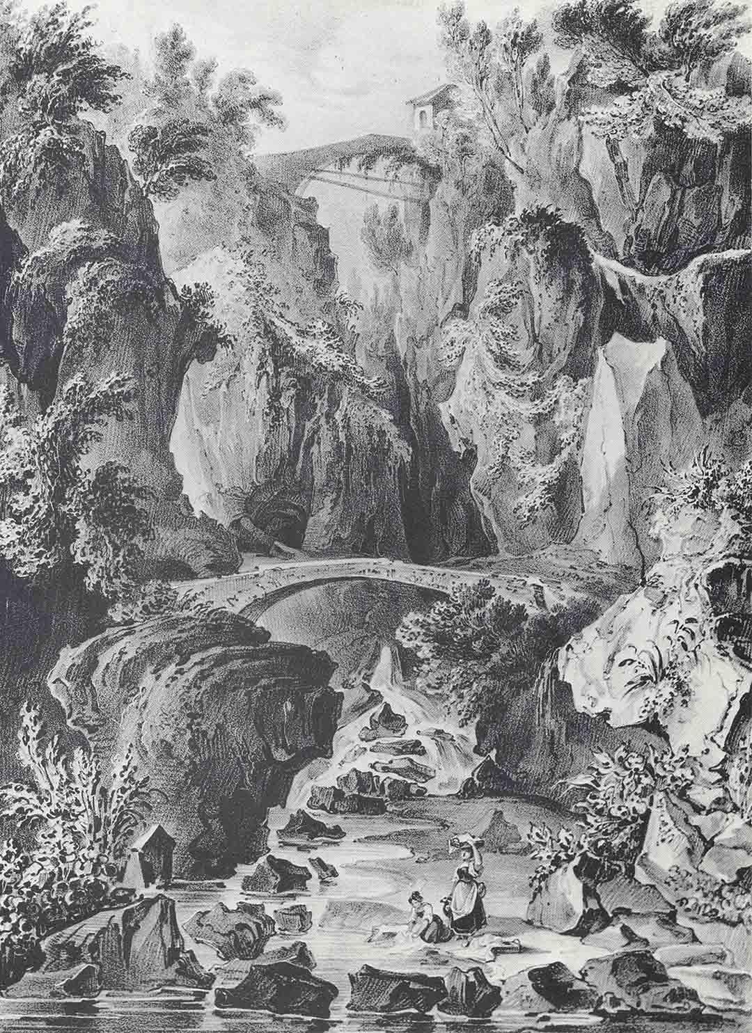 Johann WENZEL PETER (Karlsbad 1745 - Roma 1829) - Filippo CIRELLI (Campoli Appellino 1796 - 1867), Ponte dai Mulina at Sorrente