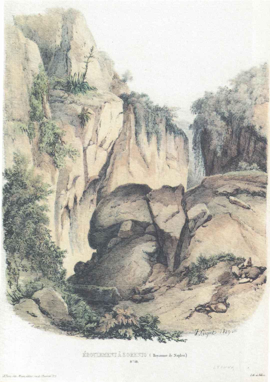 Jules Louis Philippe COIGNET (Parigi 1898 – Parigi 1860) - François LE VILLAIN (?), Éboulement à Sorrento (Royaume de Naples), 1829