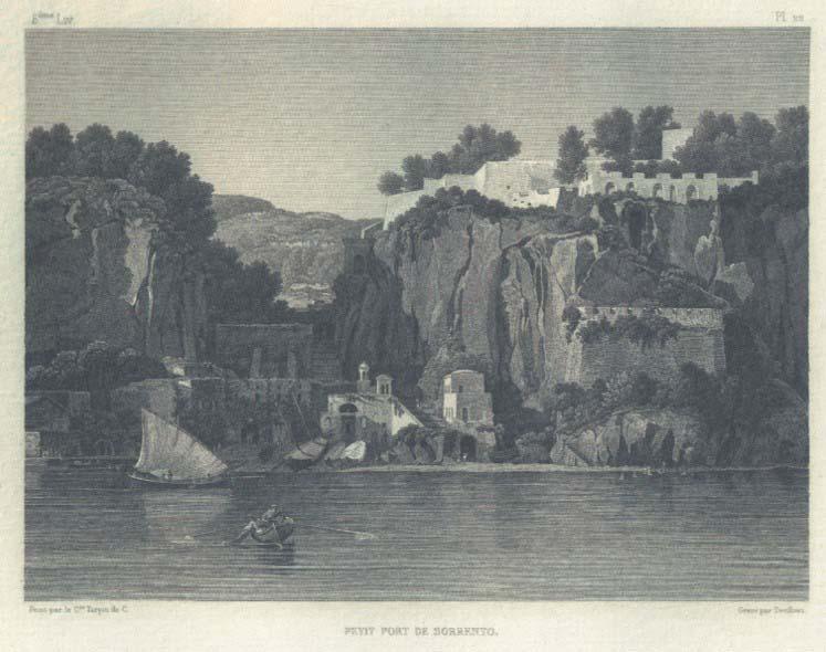 Lancelot-Théodore TURPIN DE CRISSÉ (Parigi 1782 – Parigi 1859) – Etienne GOUJON-DEVILLIERS (Parigi 1784 -1844?), Petit port de Sorrento