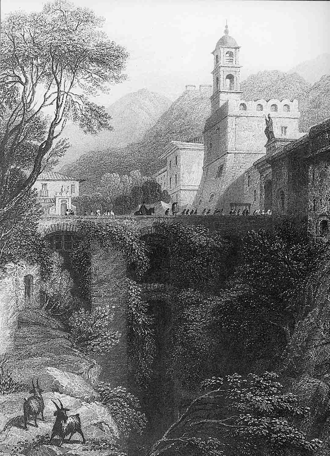 William BROCKEDON - James TIBBITTS WILLMORE, The Gate of Sorrento from the ravine